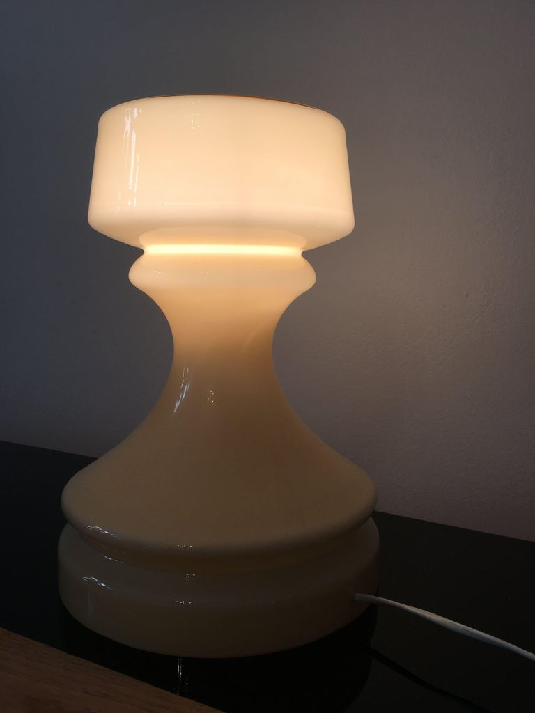 Beige Chess Glass Table Lamp by Ivan Jakes, 1960s For Sale 2