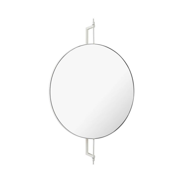 Circle rotating mirror by Kristina Dam Studio Materials: Beige powder-coated steel. Mirror.   Dimensions: 13.5 x 60 x h 91cm.  The Modernist furniture collection takes notions of modern design and yet the distinctive design touch of Kristina