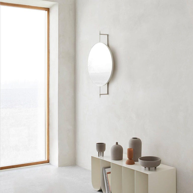 Modern Beige Circle Rotating Mirror by Kristina Dam Studio For Sale