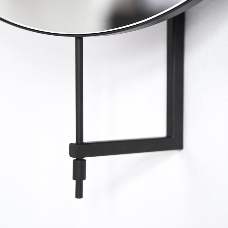 Danish Beige Circle Rotating Mirror by Kristina Dam Studio For Sale
