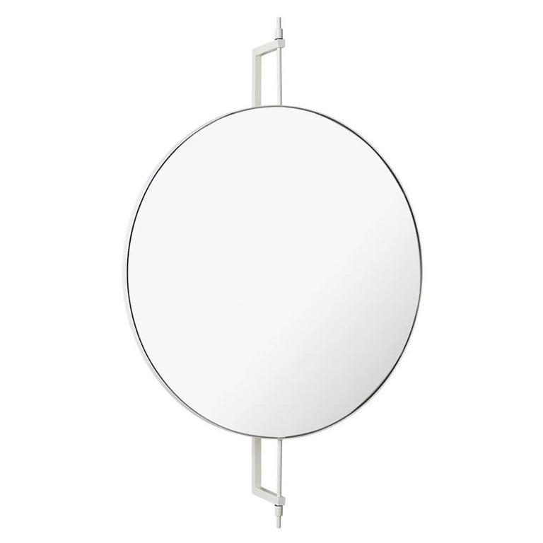 Beige Circle Rotating Mirror by Kristina Dam Studio For Sale