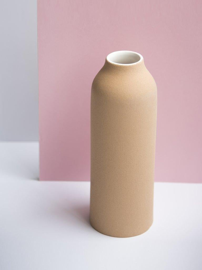 Hand-Crafted Beige Clay and Stoneware Vessel, Large, in Stock For Sale