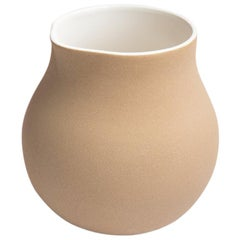 Beige Clay and Stoneware Vessel, Large, in Stock