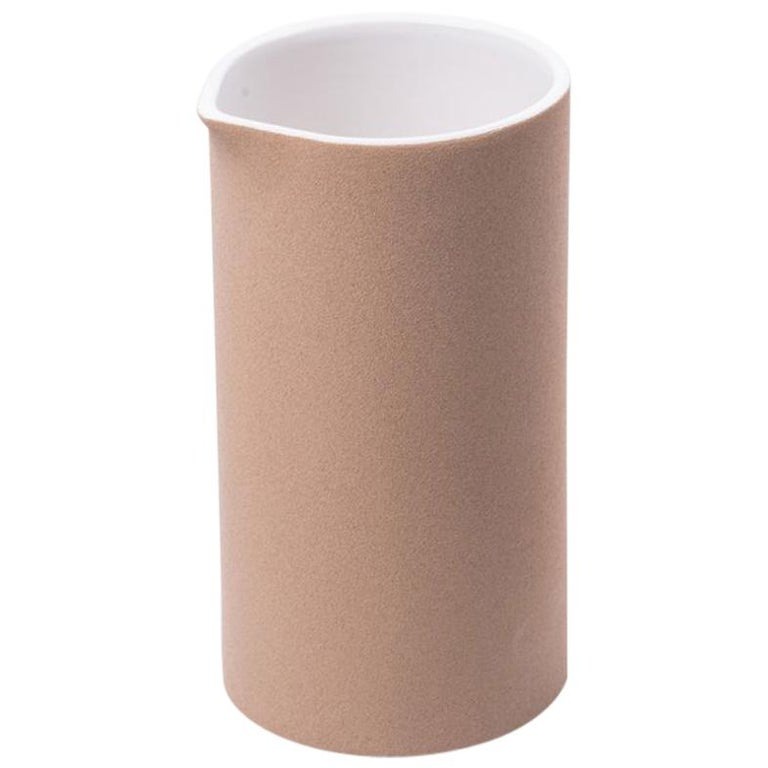Beige Clay and Stoneware Vessel, Medium, in Stock For Sale