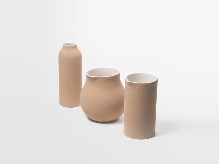 Organic Modern Beige Clay and Stoneware Vessel, Tall, in Stock For Sale