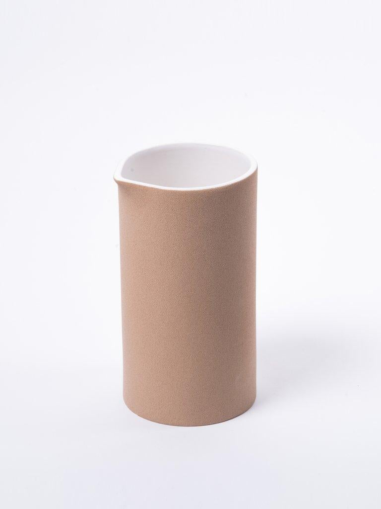 Mexican Beige Clay and Stoneware Vessel, Tall, in Stock For Sale