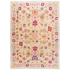 Beige Contemporary Oushak Handmade Wool Rug