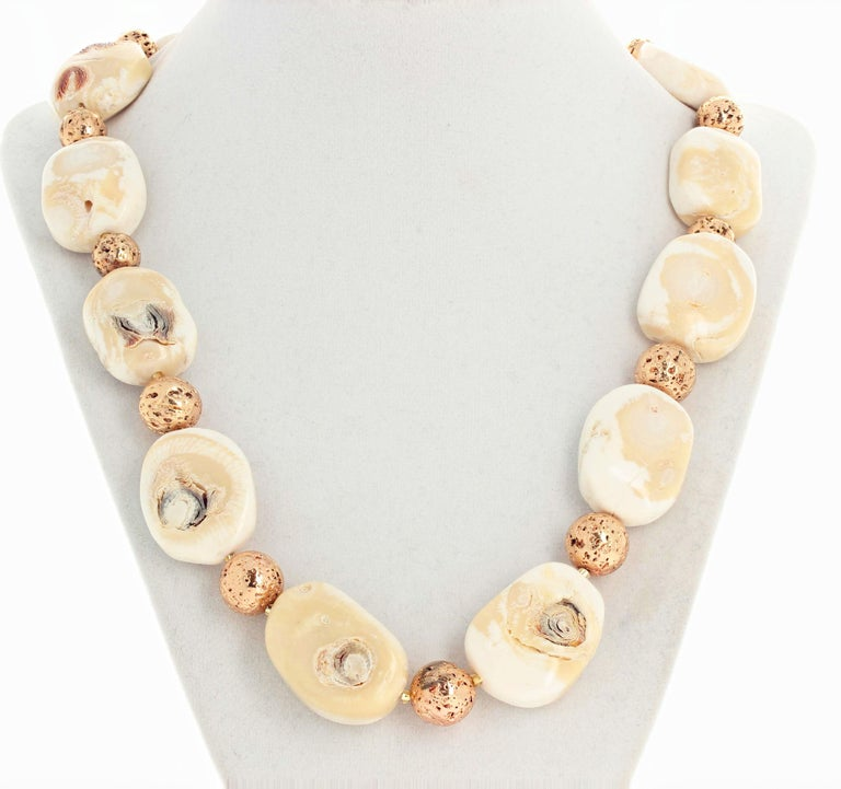 Women's or Men's Beige Coral and Goldy Rondels Necklace For Sale