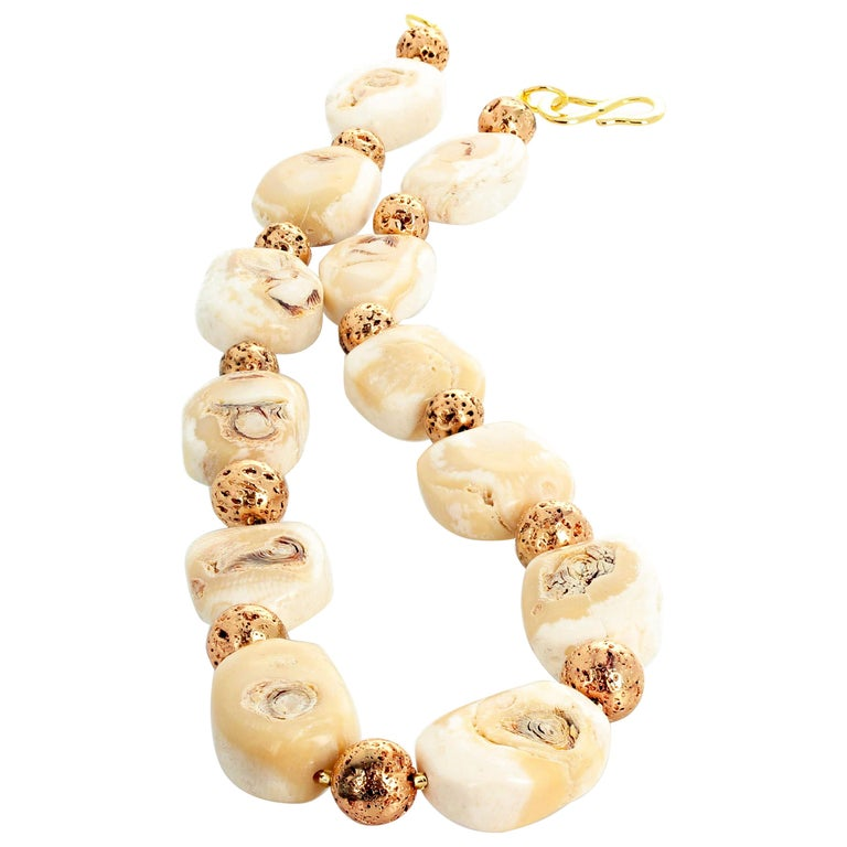 Beige Coral and Goldy Rondels Necklace For Sale