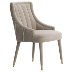 Set of 4 Beige Cordoba Dining Chair with Brushed Brass Tips
