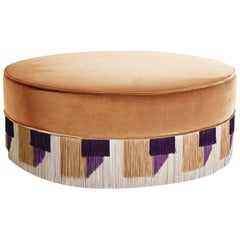 Beige Couture Geometric Geo Large Pouf