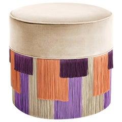 Beige Couture Geometric Stripe Low Pouf