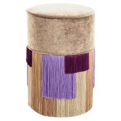 Beige Couture Geometric Stripe Pouf