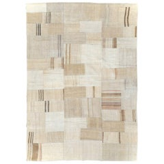 Beige Cream Brown Contemporary Handmade Turkish Flatweave Kilim Accent Carpet