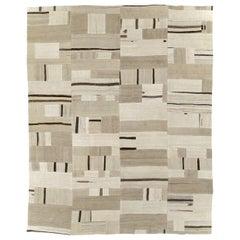 Beige Cream Brown Contemporary Handmade Turkish Flatweave Kilim Room Size Carpet