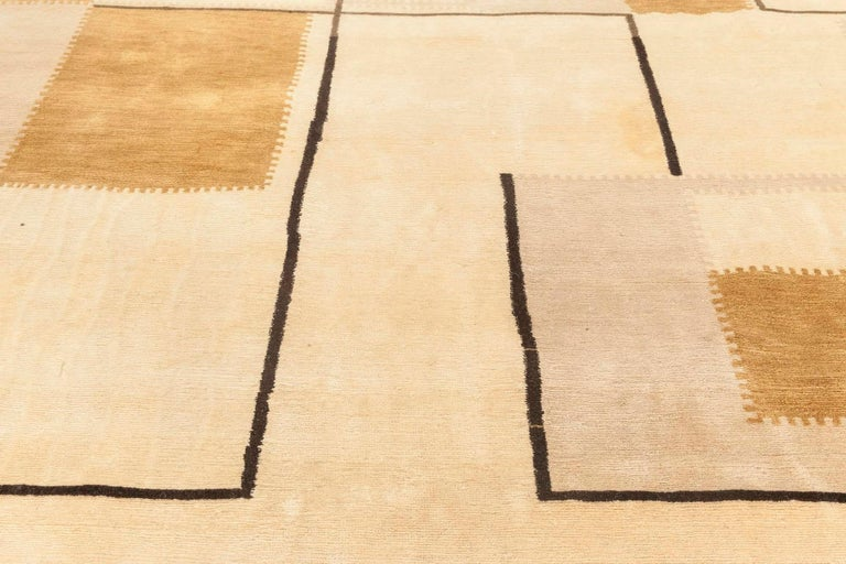 Hand-Knotted Beige Deco Inspired Rug For Sale