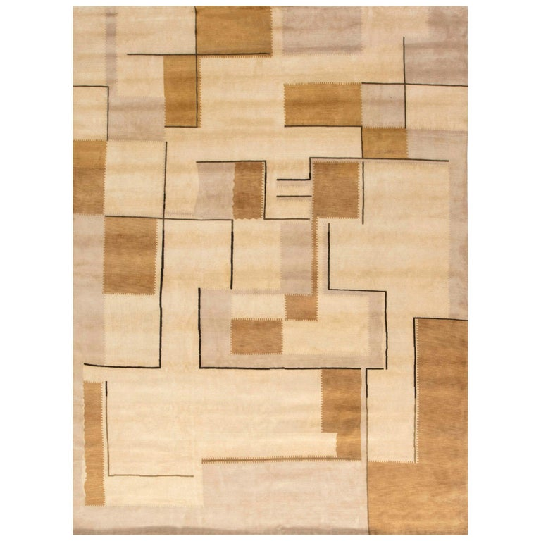 Beige Deco Inspired Rug For Sale