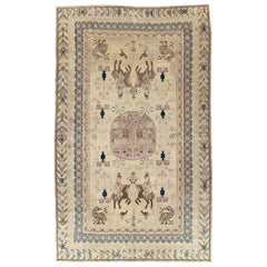 Beige Early 20th Century Handmade East Turkestan Khotan Pictorial Room Size Rug