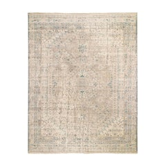 Beige Erased and Distressed Shiraz Pure Wool Hand Knotted Oriental Rug