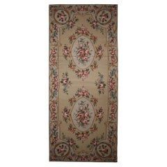 Beige Floral Needlepoint Rug Traditional Aubusson Runner Wool Area Rug