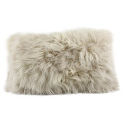 Beige Fur Pillow, Genuine Cashmere Lumbar