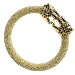 Beige Galuchat Skin Bangle Bracelet with Panther Head Gold-Plated