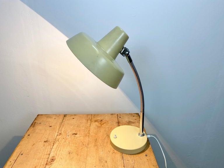 Iron Beige Gooseneck Table Lamp, 1960s For Sale