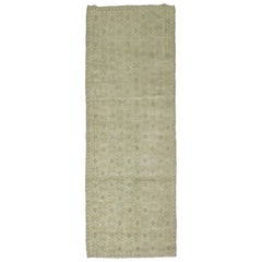Beige Green Accent Mid-20th Century Turkish Floral Wool Runner