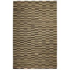 Beige Handmade Modern Striped Rug, Flat-Weave Kilim Rugs Carpet Zebra Rugs