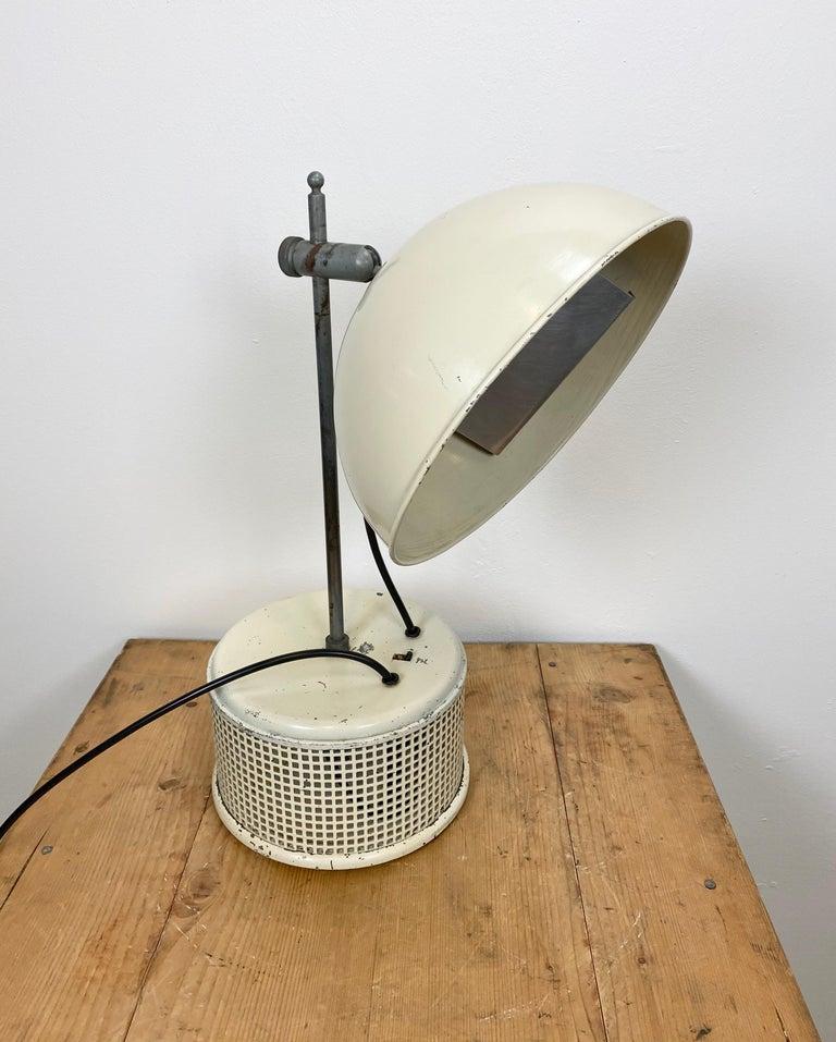 Czech Beige Industrial Table Lamp, 1950s For Sale