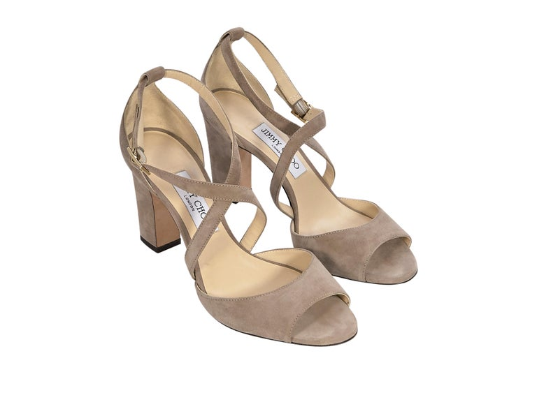 Product details: Beige strappy suede sandals by Jimmy Choo. Open-toe.  Block heel. Ankle-buckle strap closure. Gold-tone hardware. Style yours with a denim shirt dress. Label size EU 39. 4