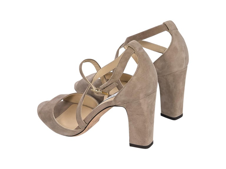 Jimmy Choo Beige Suede Sandals In Good Condition For Sale In New York, NY