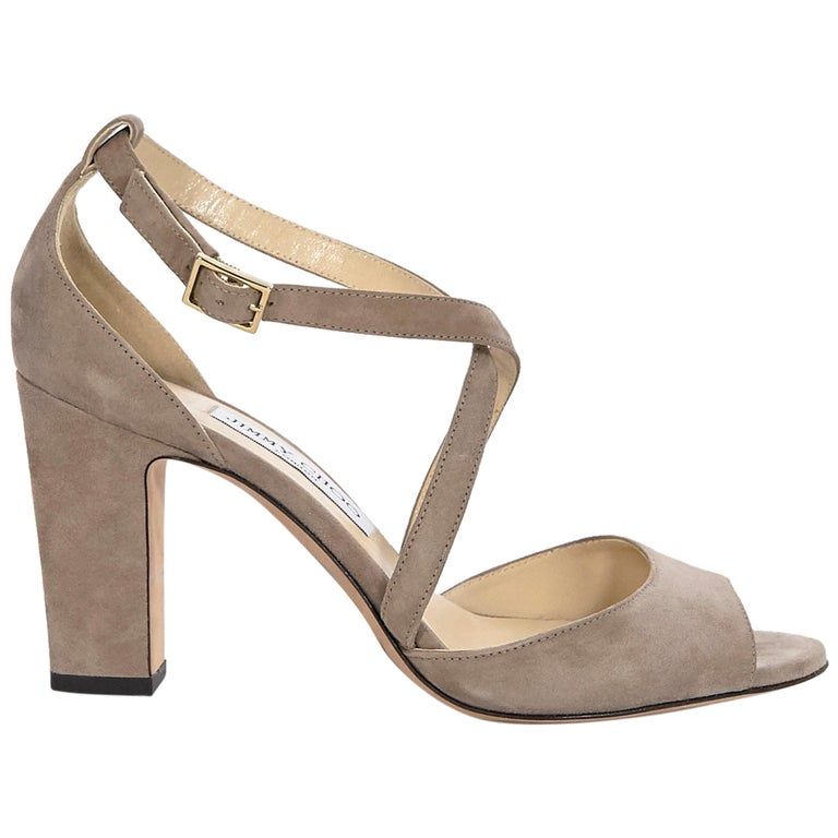Jimmy Choo Beige Suede Sandals For Sale
