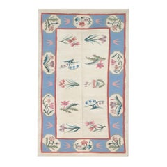 Beige Kilim Rug, Floral Floor Rug, Small Handmade Living Room Rugs