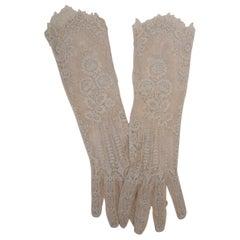 Beige Lace Evening Gloves