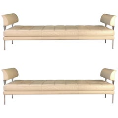 Beige Leather and Chromed Steel Benches Hydra Model, for Poltrona Frau, 1990s