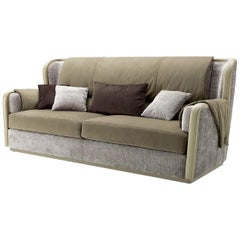 Beige Leather and Velvet 3-Seat Sofa