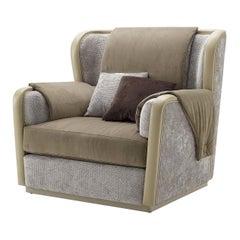 Beige Leather and Velvet Armchair