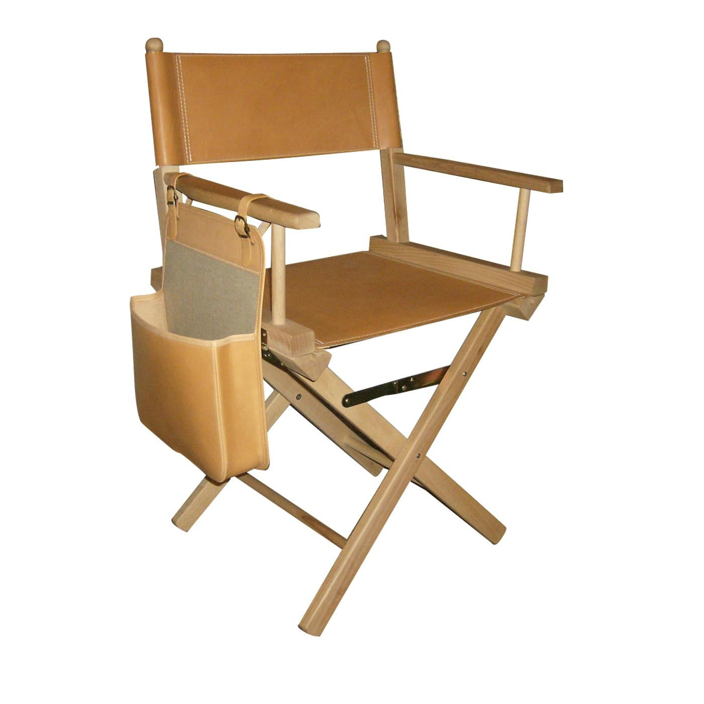 Beige Leather Director's Chair
