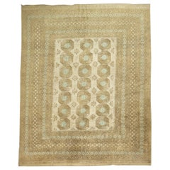 Beige Light Blue Neutral Room Size Tribal Ersari Carpet