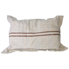 Beige Linen Pillow with Brown Double Stripes