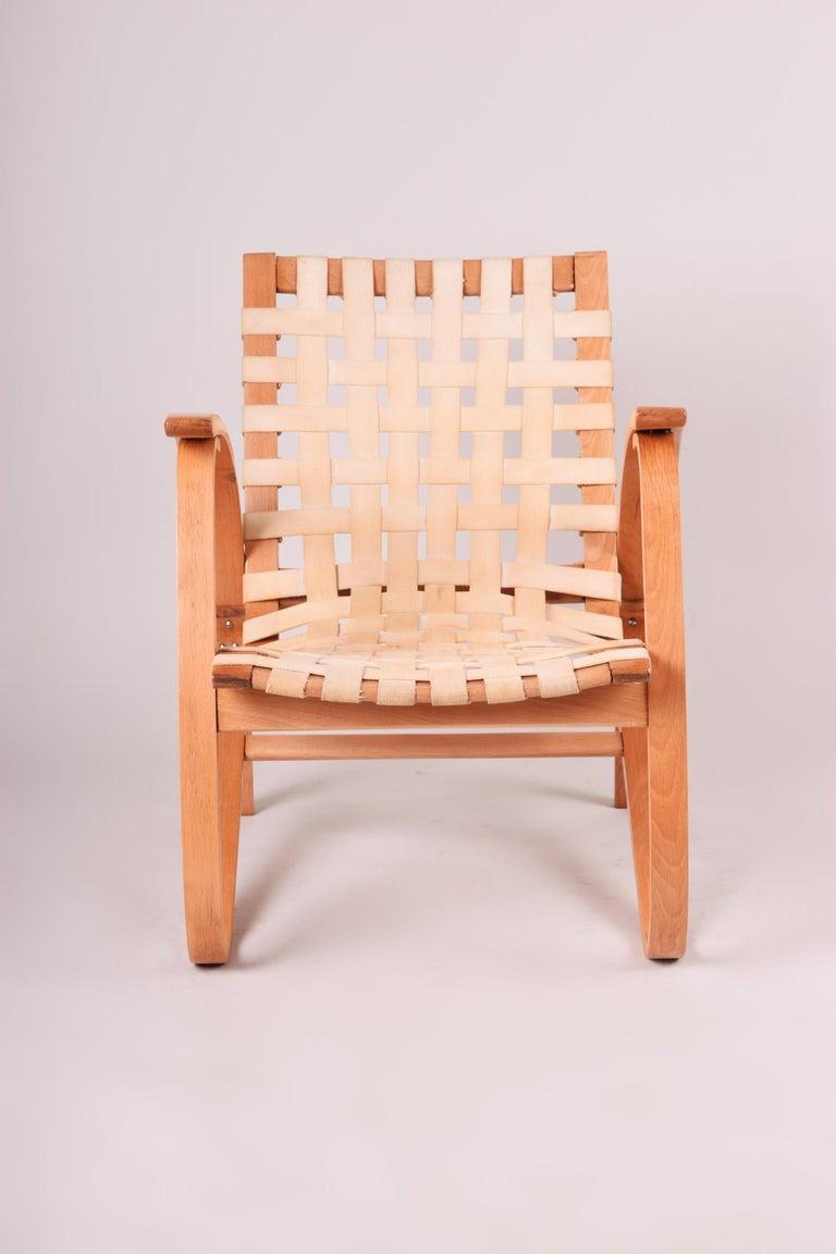 Mid-Century Modern Beige Midcentury Beech Chair, Vaněk, Perfect Original Condition, 1930s For Sale