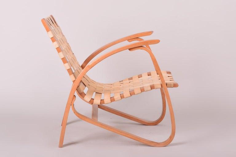 Czech Beige Midcentury Beech Chair, Vaněk, Perfect Original Condition, 1930s For Sale
