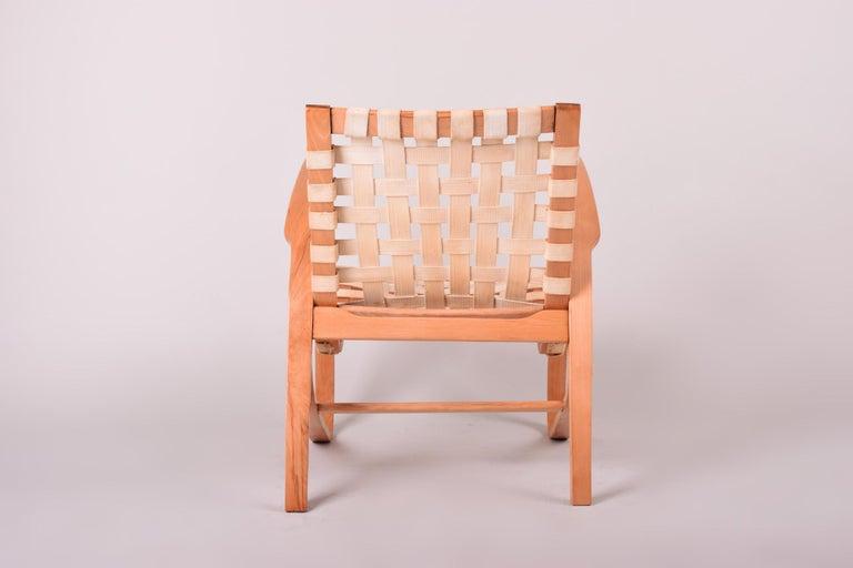 Beige Midcentury Beech Chair, Vaněk, Perfect Original Condition, 1930s In Good Condition For Sale In Prague 1, CZ