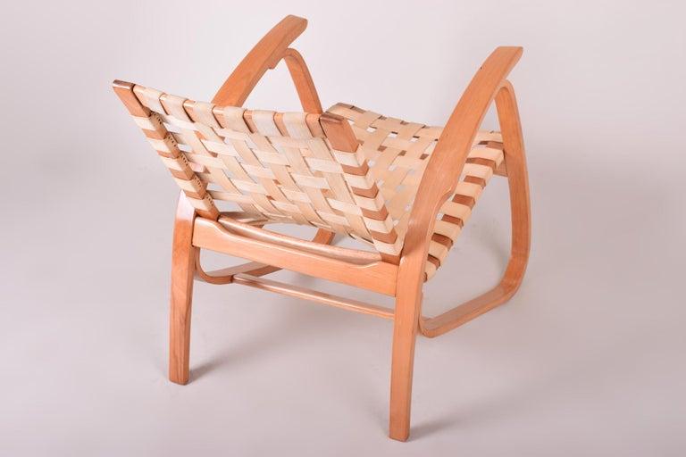 20th Century Beige Midcentury Beech Chair, Vaněk, Perfect Original Condition, 1930s For Sale