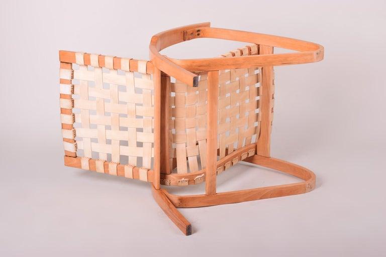 Beige Midcentury Beech Chair, Vaněk, Perfect Original Condition, 1930s For Sale 1