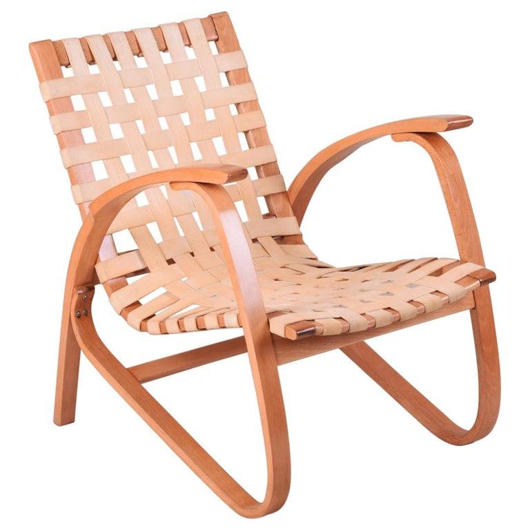 Beige Midcentury Beech Chair, Vaněk, Perfect Original Condition, 1930s For Sale