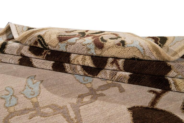 Beige Modern Art & Crafts Style Tibetan Wool Rug For Sale 4