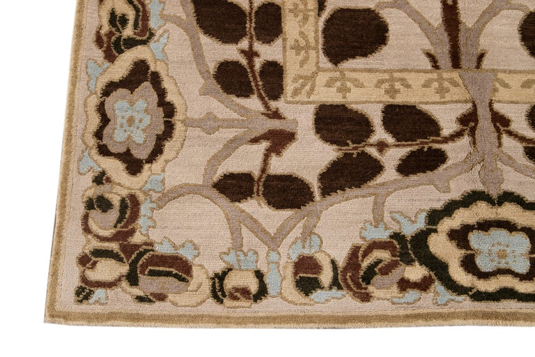 Beige Modern Art & Crafts Style Tibetan Wool Rug For Sale 7