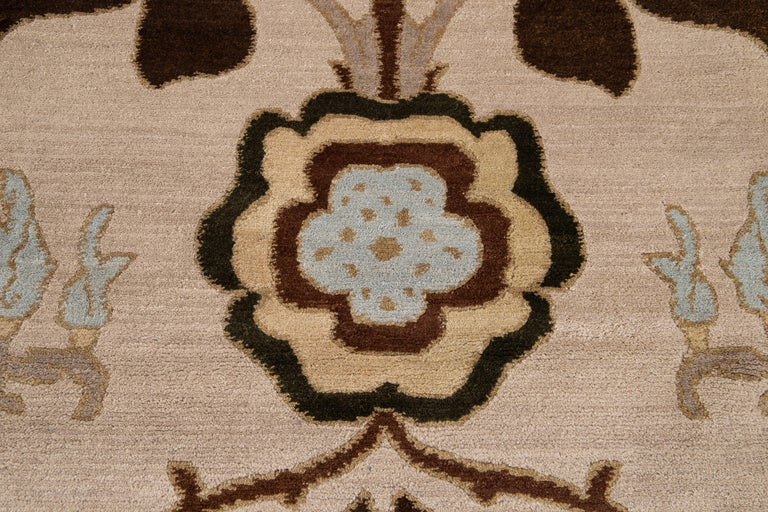 Beige Modern Art & Crafts Style Tibetan Wool Rug For Sale 8